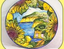 Piatto cm.37 girasoli e paesaggio